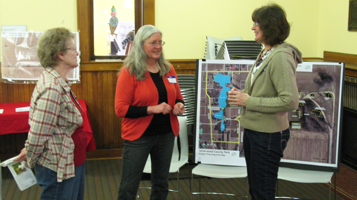 This is a picture of a 2014 Silverwood Park Master Plan outreach meeting at the Edgerton Library.