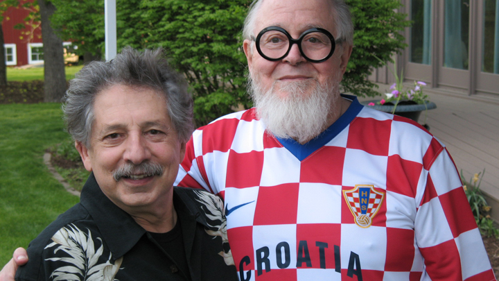 This is a picture of William Wartmann, with Madison Mayor Paul Soglin.