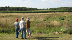 This is a picture of a planning discussion for Silverwood's Pollinator Prairie.