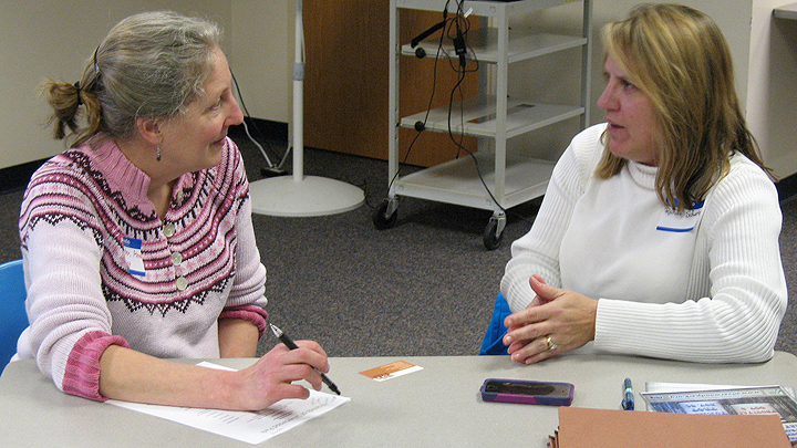 This is a picture of a meeting with the Friends of Silverwood Park's treasurer.