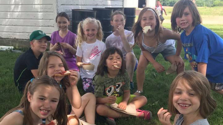 This is a picture of Silverwood Summer School students having a snack.